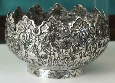 84g Antique Indian / Burmese Solid Silver Bowl Embossed With Animals + Trees
