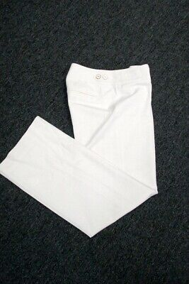 WHITE HOUSE BLACK MARKET Cream Flat Zip Front Solid Lined Pants Sz 0S GG3844
