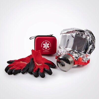 Smoke Hood and Fire Gloves Set - escape a fire with 1 hour of filtered air