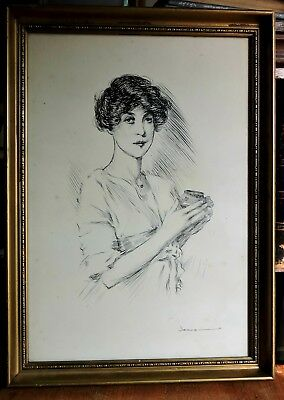 Large Pencil Drawing of a Classy Lady.  Signed ny Dennis O