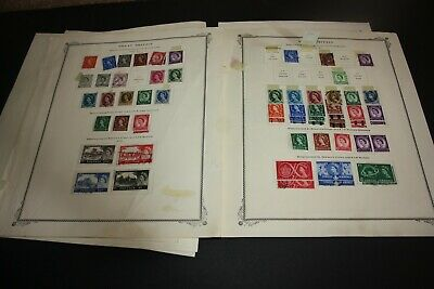 Great Britain  Nice Lot of 115 + Stamps on Torn Scott Album Pages