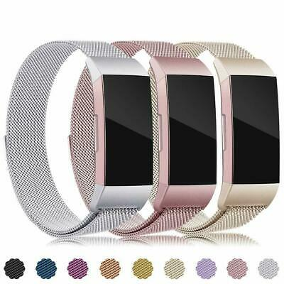 Replacement Metal Stainless Steel Magnet Milanese Band Strap for FitBit Charge 2