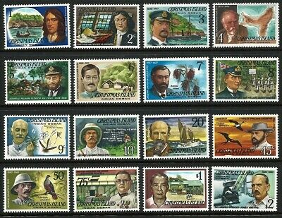 1977 Christmas Island - Famous Visitors - Complete Set of 16 stamps  MUH