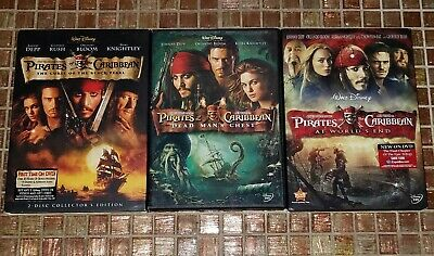 Pirates of The Caribbean 1, 2, & 3 Johnny Depp Trilogy DVD Collection