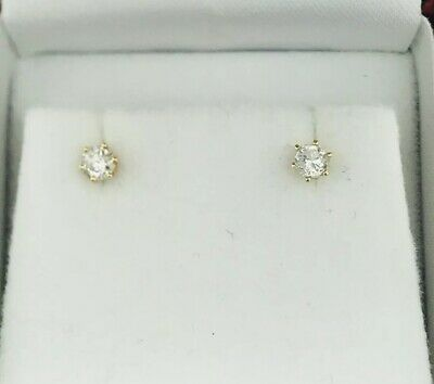 14k Yellow Gold .30ctw Round White Diamond Butterfy Stud Earrings|No Reserve