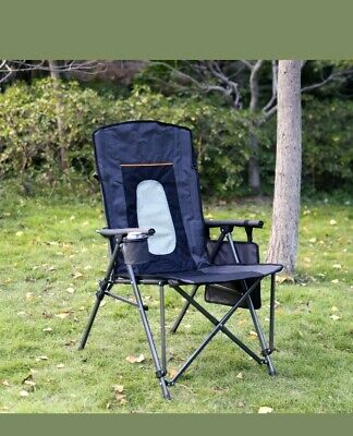 Amazing Quad Folding Camping Chair High Back Cup Holder Hard Armrest Theyellowbook Wood Chair Design Ideas Theyellowbookinfo