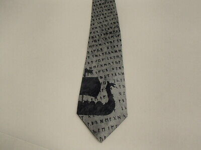 Scandinavian Norwegian Swedish Danish Neck Tie Viking Ship and Runes    #NT777