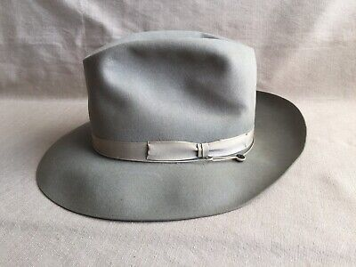 34ec7c33 Vintage 1940's Royal Stetson Playboy Hat Gray 6 7/8 Lightweight Fur Felt  Fedora