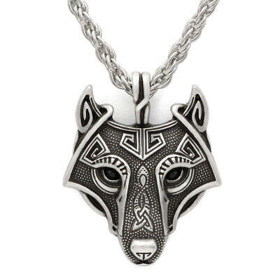 Punk Viking Wolf Head Unique Pirate Amulet Twist Chain Pendant Necklace