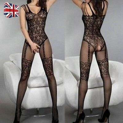 Women Lace Mesh Crotchless Full Body Stocking Clothing Lingerie Jumpsuit Suits