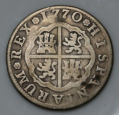 1770 MPJ Spain 2 Reales Charles III Silver Coin KM#388.2,Cal#1440