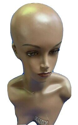 """Female Plastic Mannequin Head Model Wig Glasses Hat Display Stand 20"""" Long Used."""