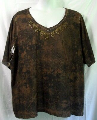 Cato Woman Plus 26/28 Brown Black Studded Knit Tee Shirt Top Blouse Shirt S/s