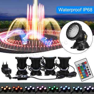 4Pcs 36LED Submersible RGB Pond Spot Lights Underwater Pool Fountain