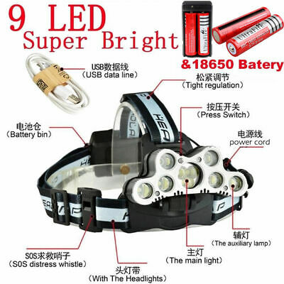 150000LM Headlamp Headlight 9x T6 LED Torch 4x18650 Rechargeable Flashlight US.