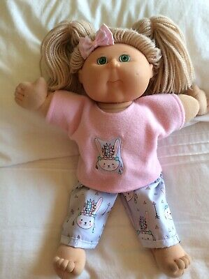 "DOLLS CLOTHES TO FIT 16"" CABBAGE PATCH DOLL -  Pants /top/bow Pink. Bunnies"