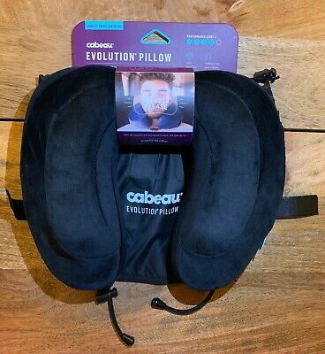 Brand New Cabeau Memory Foam Travel Pillow w/ Washable Cover, Bag & Earplugs