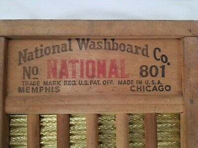 Vintage Antique National Washboard Co The Brass King NO. 801 Old Wash BoardN.O.S