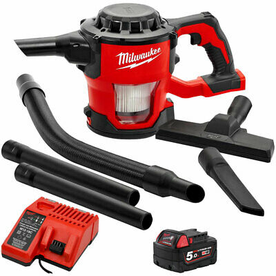 Milwaukee M18CV-0 18V Compact Hand Vacuum With 1 x 5.0Ah Battery & Charger