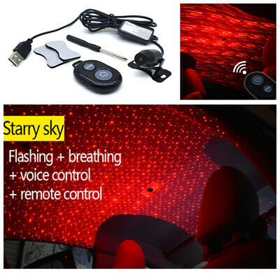 Car USB LED Atmosphere Ceiling Star Light Red Galaxy Lamp DJ Music Sound Remote