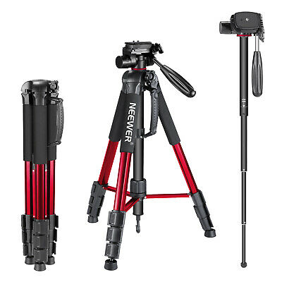 Aluminum Alloy Camera Tripod Monopod 177CM Red with 3-Way Swivel Pan Head