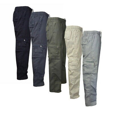 Mens Elasticated Summer Trousers Drawstring Work Lightweight Pants Bottoms 32