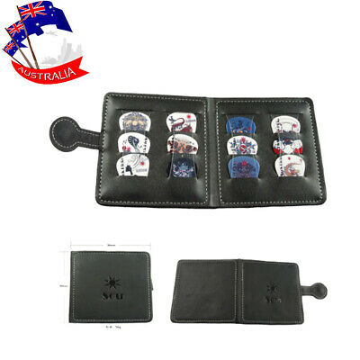 Guitar Pick Holder Case Bag Leather Wallet Plectrums Holder Portable w/ 12 Picks