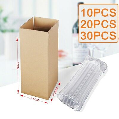 Single Wine Bottle Strong Cardboard Box W/ Inflatable Air Packaging Wrap Bags UK