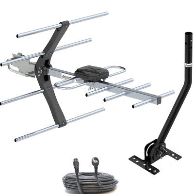 TV Aerial Outdoor UHF 4G Filter 7 Element Freeview Digital HD Full Install Kit