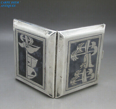 UNUSUAL ENGLISH SOLID SILVER HALLMARKED NIELLO CAIROWARE CIGARETTE CASE 93g 1925