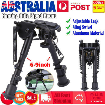 """Adjustable Legs 6"""" to 9"""" Height Sniper Hunting Rifle Bipod Sling Swivel Mount AU"""