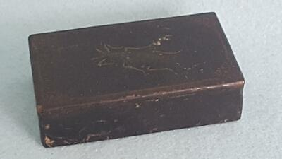 Charming Georgian 1800s Black Lacquer Ware Snuff Box H/P with Beetle