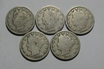 1907 1908 1910 1911 1912 Liberty Nickel - Mixed Condition - 101SU