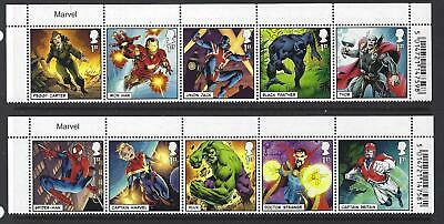 "Great Britain 2019 Marvel Set Of 10 ""title"" Strips Unmounted Mint, Mnh"
