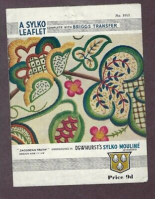 Vintage Dewhurst Sylko Hand Embroidery Leaflet & Iron On Transfer Jacobean Motif