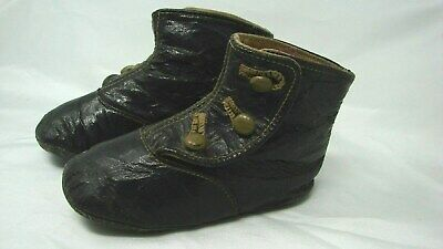 Antique Child's Baby Doll Black Leather Button Up High Top Boots Shoes