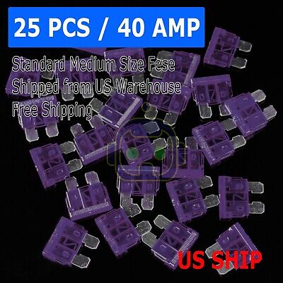 25pc 40Amp Medium Blade Fuse Assortment Auto Car Motorcycle SUV FUSES Kit ATM