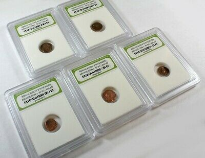 Slabbed Lot of 5 Ancient Roman Widows Mite Sized Bronze Coins c 50 BC - 400 AD d