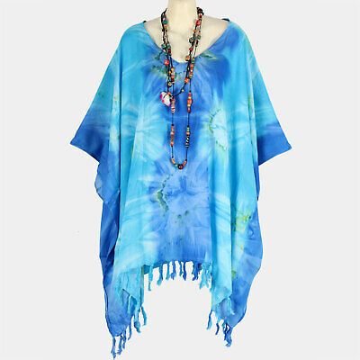 P21514 New Blue Bursting Tie-Dye Caftan Tunic Beach Cover Up Top Plus Size 5X 6X