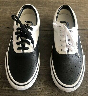 Vans Black White Leather Custom Laceup Checkerboard Shoes Womens 10 Mens 8.5 NEW