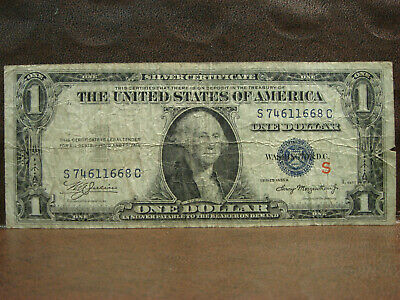 1935A $1 One Dollar Silver Certificate Red S Experimental Note VG circulated