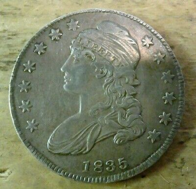 1835 US Capped Bust Half Dollar lettered edge nice coin VF details