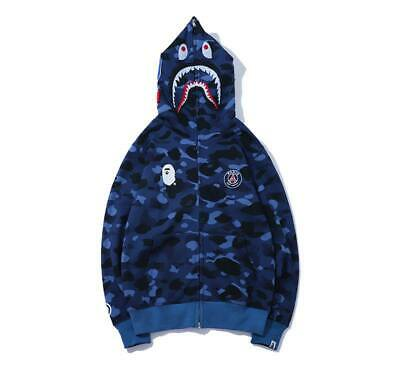 16afc484 SHARK Bape X PSG A BATHING APE PARIS SAINT-GERMAIN Hoodie Jacket full-zip