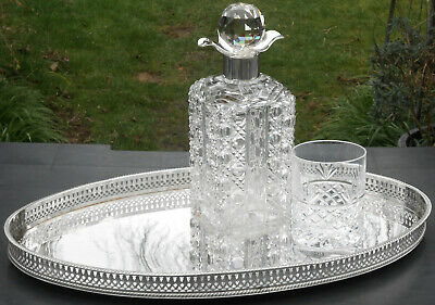 VINTAGE 18 inch / 46cm GALLERIED TEA SERVICE / SERVING TRAY - SILVER PLATED