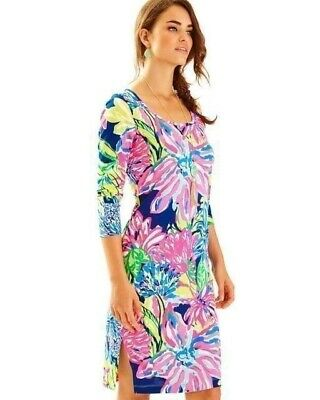 150a1d470ff New Lilly Pulitzer Kenzie T-Shirt Dress Travelers Palm Print 3 4 Sleeve L