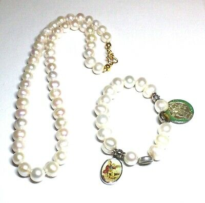 CULTURED PEARLS Single Strand Necklace & Bracelet With Charms - H64