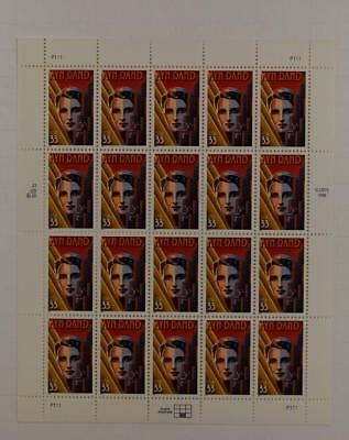 Us Scott 3308 Pane Of 20 Ayn Rand Stamps 33 Cent Face  Mnh