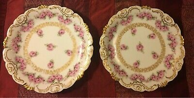 "Pair of Antique Limoges France Coiffe Rare Rose Pattern 8.5"" Plates EUC"