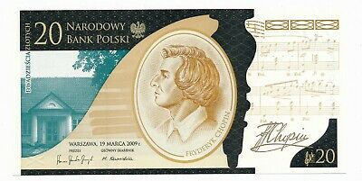 Poland 20 Zlotych 2009 Frederic Chopin UNC Note In Folder of Issue P. 181