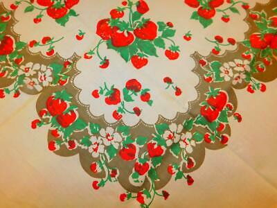 NOS Vintage BRODERIE Cotton Printed TABLECLOTH Red STRAWBERRIES 42x42  UNUSED